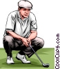 Golfer lining up put Vector Clip Art image