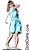 Woman golfer Vector Clip Art graphic