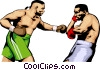 Vector Clip Art graphic  of a Men boxing