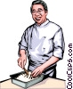 Vector Clip Art graphic  of a Japanese chef