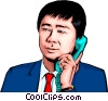 Vector Clip Art graphic  of a Japanese man with telephone