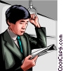 Vector Clipart illustration  of a Japanese man on a train