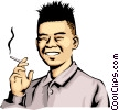 Vector Clip Art picture  of a Japanese man with cigarette