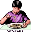 Vector Clip Art image  of a Japanese boy with noodles