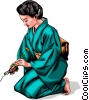 Vector Clipart illustration  of a Japanese woman with flower