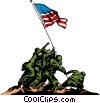 Raising the flag Vector Clip Art picture