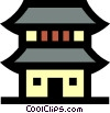 Vector Clipart image  of a Japanese building