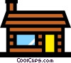 Vector Clip Art graphic  of a Log house