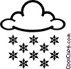 Vector Clipart graphic  of a Snowflakes with clouds