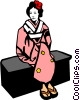 Vector Clip Art picture  of a Japanese woman