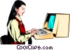 Woman working at computer Vector Clipart illustration