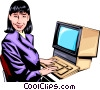 Vector Clip Art graphic  of a Woman working at computer