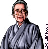 Vector Clipart graphic  of a Old Japanese woman