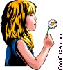 Vector Clip Art image  of a Little girl with dandelion