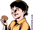 Vector Clip Art image  of a Child with a cookie