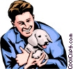 Man with dog Vector Clip Art graphic