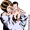 Vector Clipart image  of a Mother with baby