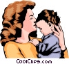 Vector Clip Art picture  of a Mother with child