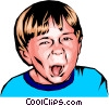 Little boy sticking out his tongue Vector Clipart illustration