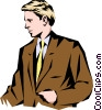 Man standing talking Vector Clipart graphic