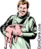 Farmer with pig Vector Clip Art picture