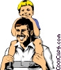 Vector Clipart image  of a Father & son