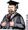 Vector Clip Art image  of a Professor with graduation cap