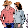 Western man & woman Vector Clipart picture