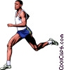 Man running marathon Vector Clipart illustration