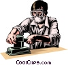 Vector Clip Art graphic  of a Carpenter with sander
