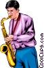Man with a saxophone Vector Clipart graphic