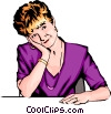 Vector Clipart illustration  of a Woman thinking