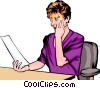 Woman with papers Vector Clipart illustration