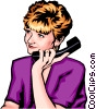 Woman on hold with telephone Vector Clipart image