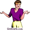 Vector Clip Art picture  of a Woman with expressive hands