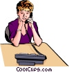Vector Clipart picture  of a Woman with telephone