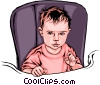 Child in a baby chair Vector Clip Art graphic