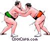 Vector Clip Art graphic  of a Sumo wrestlers