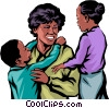Afro-American families Vector Clipart image