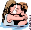 Vector Clipart picture  of a Romantic couple in the water