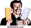 Vector Clip Art image  of a Man with tickets