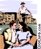 Vector Clipart graphic  of a Venetian gondola with couple