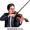 Vector Clipart illustration  of a Violin player