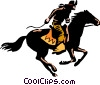 Cowboy on horseback Vector Clipart image