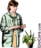 Woman florist Vector Clipart picture