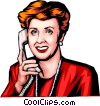 Woman on the phone Vector Clipart image