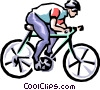 Vector Clip Art graphic  of a Cyclist in race