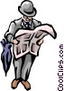Vector Clipart graphic  of a British Man reading paper