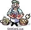 Fruit vendor Vector Clipart image