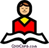 Symbol of a person reading Vector Clipart picture